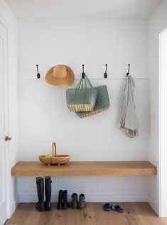Simple, rustic with a farmhouse touch, this cottage mudroom is completed with an oak block floating bench on a white vertical shiplap wall under oil rubbed bronze hooks. Built In Bench, Bench With Storage, Mudroom Laundry Room, Bench Mudroom, Wall Bench, Muebles Living, Rustic Cottage, Ship Lap Walls, Entryway Decor