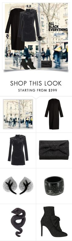 """""""All Black Everything"""" by shoecraycray ❤ liked on Polyvore featuring Pottery Barn, The Row, Giuseppe Zanotti, Chanel and Lydia Courteille"""
