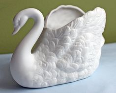 Swan Plant Pot Holder. White Bisc Porcelain by AnythingDiscovered