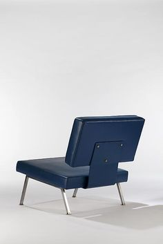 Joseph-André Motte; Chromed Metal and Vinyl Easy Chair, 1957.