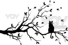 cat on tree, vector