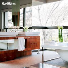 Plants in your bathroom not only keep the air fresh, but also add a pop of color.
