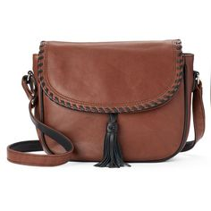 ili Whipstitch Leather Saddle Bag ($112) ❤ liked on Polyvore featuring bags, handbags, shoulder bags, brown oth, leather shoulder bag, shoulder strap bags, leather shoulder handbags, brown leather shoulder bag and leather saddle bags