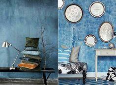 Schickes Interior Mit Wandfarbe Blau-wand Streichen In Blau ... Wohnzimmer Blau Streichen