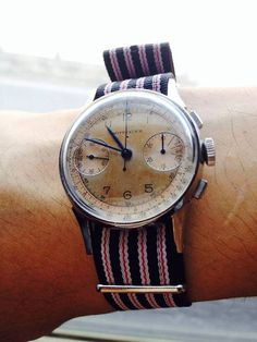 Vintage Wittnauer Two Register Chronograph In Stainless Steel