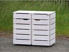 2er Mülltonnenbox Holz für 120 L + 240 L Tonnen, Lichtgrau