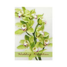 Green Cymbidium orchid wedding invitation. Pretty in green and burgundy. #weddings #invitations