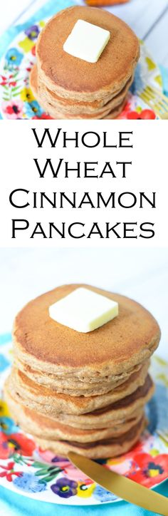 Delicious and easy whole wheat pancakes with cinnamon, vanilla, and a hint of brown sugar! Great for breakfast, brunch, or dinner!