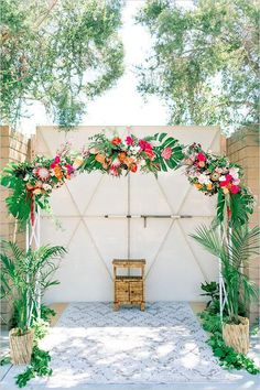 Tropical outdoor wedding ceremony backdrop with palms and proteas, summer wedding ideas Ceremony Arch, Wedding Ceremony, Wedding Arches, Wedding Backdrops, Wedding Rings, Glamorous Wedding, Dream Wedding, Trendy Wedding, Exotic Wedding