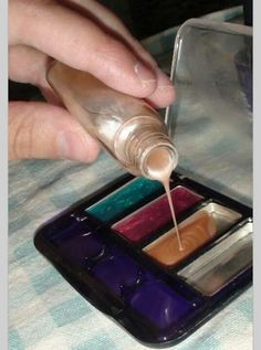 Pour nail polish into empty eye shadow containers and let your little one play make-up when its dry