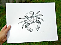 White Crab illustration maryland blue crab drawing by LuckiiArts, $50.00