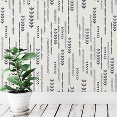 Boho Wallpaper Watercolor Wall Mural Hand Painted Wall Art Watercolor Print Black and White Wallpaper Removable Wallpaper Hand Painted Wallpaper, Hand Painted Walls, Diy Wallpaper, Painting Wallpaper, Mural Painting, Office Wallpaper, Interior Wallpaper, Paintings, Diy Tapete