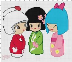 Kokeshi Cross Stitch Pattern Professional by TeaPartyRevolution