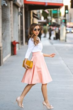LPair a flowy skirt with a blouse and bow heels. So cute!