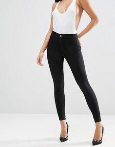072377ac26a8e2 ASOS - RIVINGTON High Waist Denim Jeggings In Clean Black - $35.00 High  Waisted Black Jeans