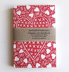 Hand printed linocut print notebook with red heart print