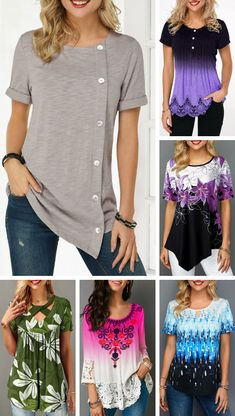 Advertisements Embrace summer with today's blouse. These designs are comfy but breathable, perfect for warm weather of spring months. Summer blouse will fit into your new, refreshed wardrobe perfectly. Stylish Tops For Girls, Trendy Tops For Women, Trendy Fashion, Boho Fashion, Girl Fashion, Chic Outfits, Fashion Outfits, Fix Clothing, Spring Months