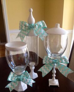 """Turquoise Chevron """"Glass Apothecary/Candy Jars"""" Premium Set of 3, in distressed white-Shabby French on Etsy, $35.00"""