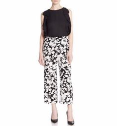 NWT Kate Spade New York Synna Leafy Floral Baggy Pants. -A striking negative-space floral print defines these fluid pants, versatile enough for poolside drinks and the office. Size: XS. -Comfortable yet elegant, dress up dress down, wear with chunky heel or slip on.