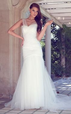 Wishesbridal Tulle Trumpet Mermaid Wedding Dress