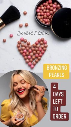 Blush, countour, highlight all in one! Great for all skin types and colors. Bronzing Pearls last 2 years. limited edition - final day may 9 #beauty #beautyproducts #beautyblog #makeup #bronze #blush #pearls Bronzing Pearls, Highlight, Blush, Bronze, Makeup, Colors, Beauty, Lights, Make Up