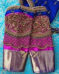 #silkblouse #greenandgreyblouse #elbowsleeves #workedtassels #contraststatement #newdesign #customisedone #granduer #ultimatelook… Wedding Saree Blouse Designs, Pattu Saree Blouse Designs, Blouse Designs Silk, Blouse Neck Designs, Sleeve Designs, Kids Blouse Designs, Hand Work Blouse Design, Stylish Blouse Design, Embroidery Patterns