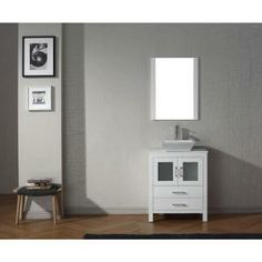 Virtu USA Dior 28 in. Vanity in White with Pure Marble Vanity Top in White and Mirror-KS-70028-S-WH at The Home Depot