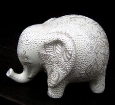 Lucky Elephant Bank  Flower Abstract Pearl by StephanieCeramics, $120.00