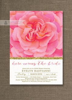 Rose & Gold Bridal Shower Invitation Lace Pink Glitter Shabby Chic Wedding Invite Bloom FREE PRIORITY SHIPPING or DiY Printable - Evelyn #Pink #Wedding #PinkWedding #Paper