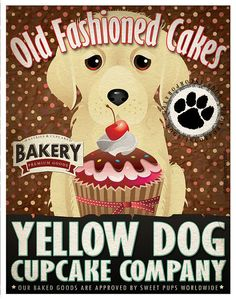 Yellow Dog Cupcake Company Original Art Print by DogsIncorporated