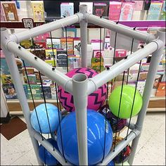 This Ball Bulk Bin Freestanding PVC Tower takes up a small footprint yet merchandises balls of all sizes. Standard PVC components keep cost to a minimum Ball Storage, Baby Play, Playroom, Garage, Tower, Magic, Display, Interior, Projects