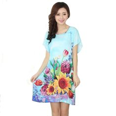 New Arrival Blue Chinese Women Cotton Nightdress Summer Short Sleeve  Sleepwear Floral Home Dress Robe Gown One Size S0125-in Nightgowns    Sleepshirts from ... 8c7083c5a7
