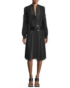 Long-Sleeve+Grommet-Embellished+Blouse,+Grommet-Embellished+Carwash+Skirt+&+Wide+Leather+Hip+Belt,+Black+by+Michael+Kors+Collection+at+Bergdorf+Goodman.