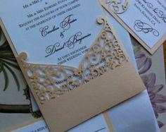 Lasercut nozze invito Sleeve Pocket Pattern di CelineDesigns