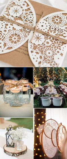 lace burlap and mason jars inspired country rustic wedding ideas and wedding invitations