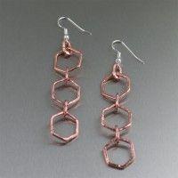 Hammered #Copper Drop #Earrings. Guaranteed flattery   http://www.ilovecopperjewelry.com/hammered-copper-drop-earrings.html  $45.00