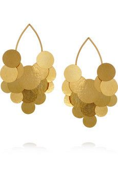 Pastilles hammered gold plated earrings by Herve Van Der Straeten