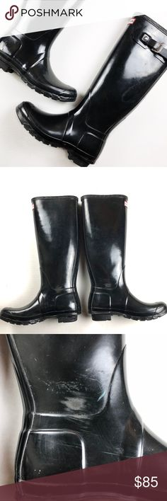 Hunter Boots • Black Original Tall Black tall Hunter boots. In gently loved condition. Some scuffs and marks as shown. I wore them for one winter season and then here and there in the rain.   ❌No Trades ❌No off Posh transactions ❌No asking for the lowest price Hunter Boots Shoes Winter & Rain Boots