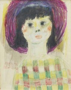 Porträtt av kvinna i lila hatt by Olle Olsson-Hagalund