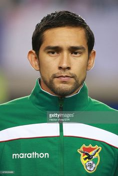 Cristian Coimbra of Bolivia looks on during the national anthem ceremony prior the 2015 Copa America Chile quarter final match between Peru and Bolivia at German Becker Stadium on June 25, 2015 in Temuco, Chile.