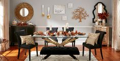 Season Your Style There's no need to give up the look you love to bring in seasonal décor! This year's Thanksgiving trends will fit perfectly. Fall Home Decor, Autumn Home, Living Room Decor, Dining Room, Dining Tables, Orange House, Inspired Homes, Room Set, Stores