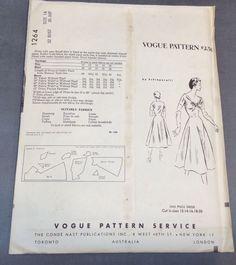 1950's Vintage Vogue Paris Original 1264 Schiaparelli Dress Pattern Size 14 | eBay