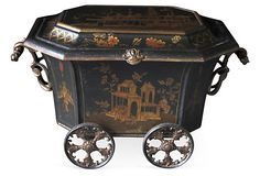 """""""Rare and unusual ebonized painted metal octagonal coal bin with chinoiserie decoration, made by the Coalbrookdale Foundry, Telford, England. Circa 1860."""""""