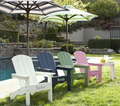 Adirondack Chairs | Pottery Barn Kids (green- chairs available @ACE for much less)