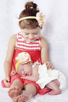 Cute sibling idea- dont have to trust the older sib to hold them sitting up for the whole picture!
