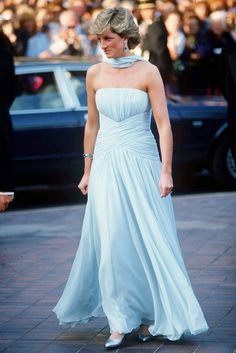 44d2563aa8 Princess Diana at Cannes in a light blue chiffon gown Palais Des Festivals