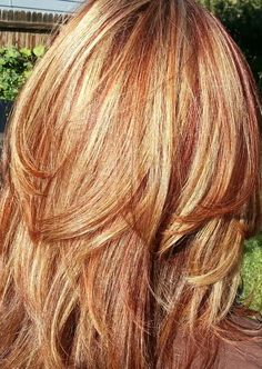 Great strawberry blonde color. I love this. Red or auburn hair with subtle, natural blonde highlights. I want it to almost blend. GREAT HAIR CUT ALSO!