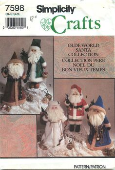 """Simplicity Crafts 7598 Sewing Pattern for """"Olde World Santa Collection"""" by CarlasHope on Etsy"""