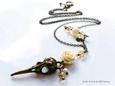 Antiqued Bronze Bird Skull Necklace Cream by RoseTeaAndRabbit https://www.etsy.com/uk/listing/400691243/antiqued-bronze-bird-skull-necklace?ref=shop_home_active_1