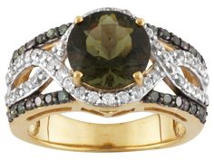 1.30ct Moldavite, .34ctw White Zircon, .15ctw Green Diamonds 18k Gold